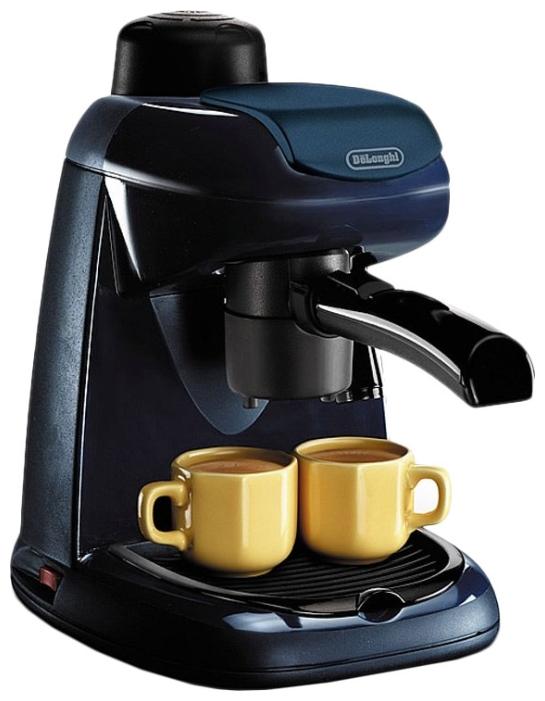 Delonghi EC 5 - эспрессо, полуавтоматическое приготовление; кофе - молотый; нагреватель - бойлер; резервуар 0.4 л; макс.давление 3