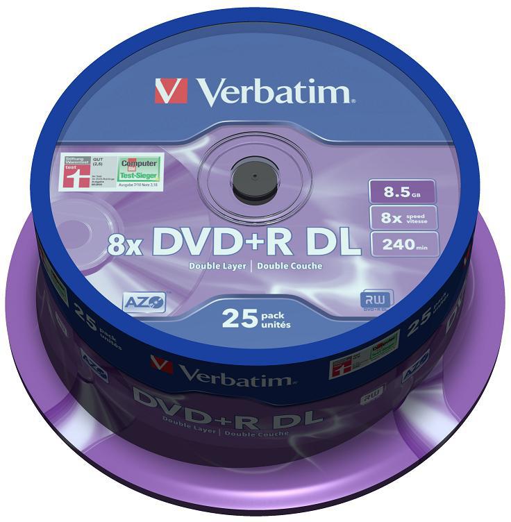 DVD-диск Verbatim DVD+R 8.5GB Dual Layer 43757