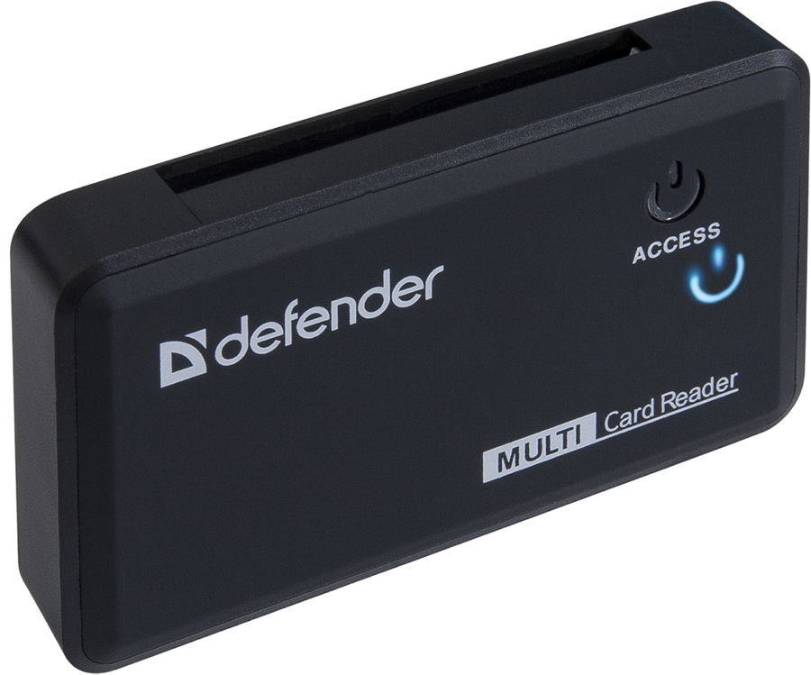 Defender Optimus (USB) - (Картридер; внешний; miniUSB 2.0b • Типы карт: RS-MMC, MS Duo, MS PRO, SDHC, Micro-SD (T-Flash), MS PRO Duo, MS, Mini-SD, SD, M2, карта Micro-SD до 32 ГБ, Micro-SDHC, Mini-SD (нужен адаптер), MMC)