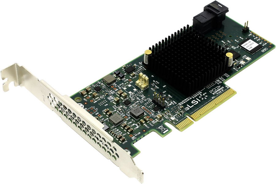 LSI Logic MegaRAID SAS 9341-4i (LSI00419 ) SGL - SAS / SATA RAID-контроллер (RAID 0, 1, 10, 5, 50); PCI-Express 8x rev.3.0 (обратно