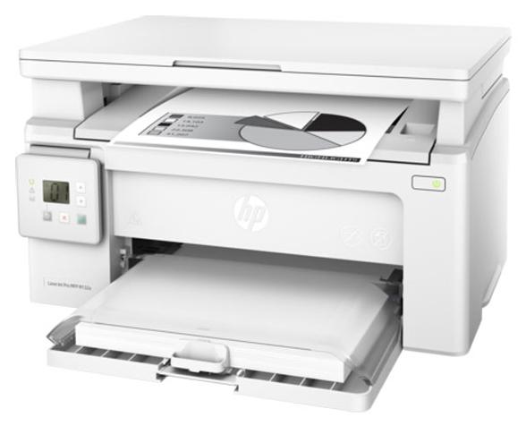 HP LaserJet Pro M132a white - ((принтер/сканер/копир); A4; черно-белая; печать 22 стр/мин (ч/б А4) • Печать на: карточках, пленках, этикетках, глянцевой бумаге, конвертах, матовой бумаге)