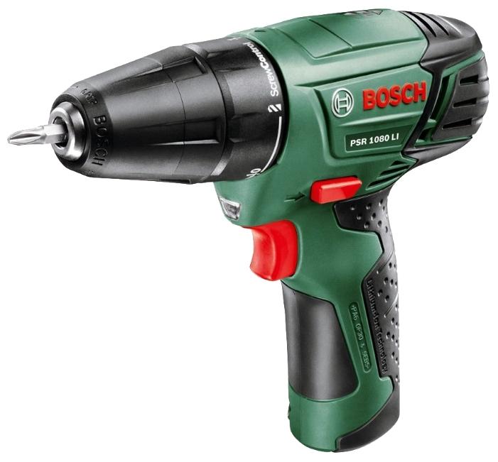 Дрель-шуруповерт Bosch PSR 1080 LI 1.3Ah Case, встроенный аккумулятор [0603985021]
