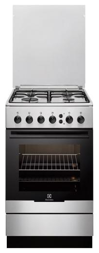 Плита Газовая Electrolux EKG951108X - газовая; конфорок газовых: 4, быстрого разогрева: 1 ; духовка 53 л; гриль есть, газовый; конвекция