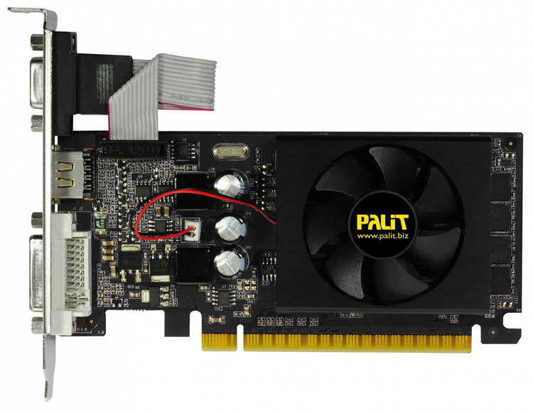 Palit GeForce GT 610 810Mhz PCI-E 2.0 2048Mb - (NVIDIA GeForce GT 610, 40 нм, 810 МГц, 2048 Мб GDDR3@1070 МГц 64 бит • Разъёмы: DVI, поддержка HDCP, HDMI, VGA.)