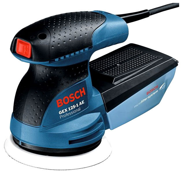 Bosch GEX 125-1 AE [0.601.387.500] - эксцентриковая; 250 Вт; до 12000 об/мин; до 24000 кол/мин; крепление - липучка; диам.диска до