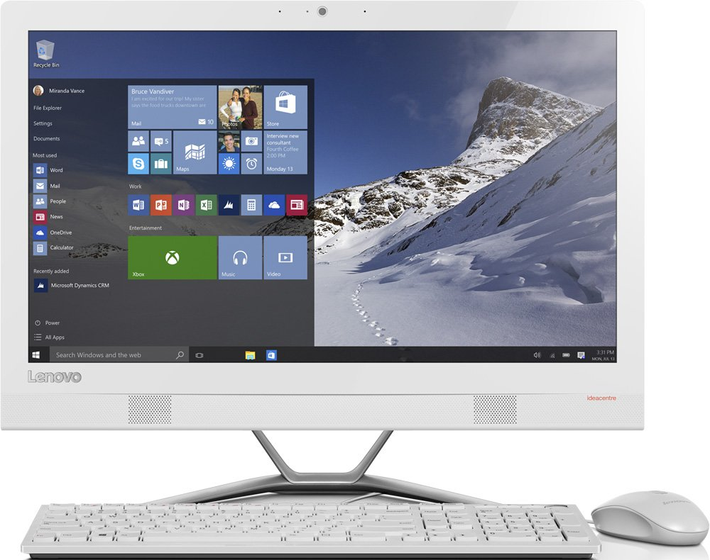 "Lenovo 300-22ISU (F0BX00KDRK), White - (Intel Pentium 4405U / 2100 МГц; 8 Гб; 1000 Гб; ODD - DVD±RW • Экран 21.5"" 1920x1080; Intel HD 510 • LAN 10-1000 Мбит/с; Wi-Fi 802.11 b/g/n/ac; Bluetooth 4.0 • MS Windows 10)"