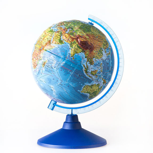 Globen Евро 320 (Ке013200229), физический, рельефный - Глобус Земли физический; диаметр 320 мм; подсветка есть