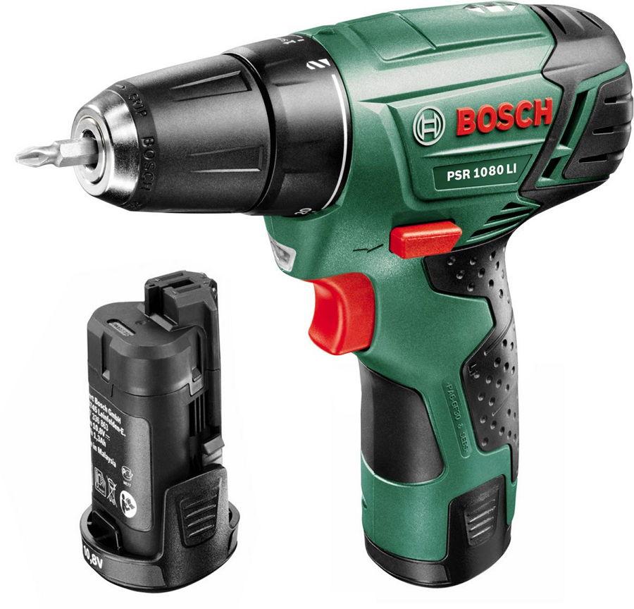 Bosch PSR 1080 LI 1.5Ah x2 Case [0.603.9a2.021] - (безударная дрель-шуруповерт; патрон быстрозажимной, D= 10 мм; скоростей 1; 700 об/мин; питание от аккумулятора • Диам.сверления - дерево 20 мм - металл 6 мм)