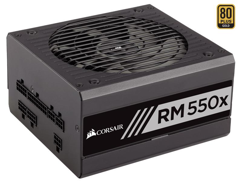 Corsair RM550x - 550 Вт, ATX12V v2.4 / SSI EPS 12V v2.92, активная (отключается при загрузке менее 40%), PFC активный, линия +12В(1)