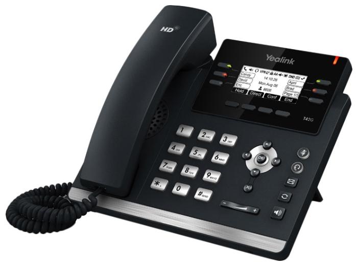 Yealink SIP-T41P - (SIP: есть, подключение к нескольким серверам, Hands Free: есть, LCD-дисплей: монохромный, интерфейсы: WAN, LAN)