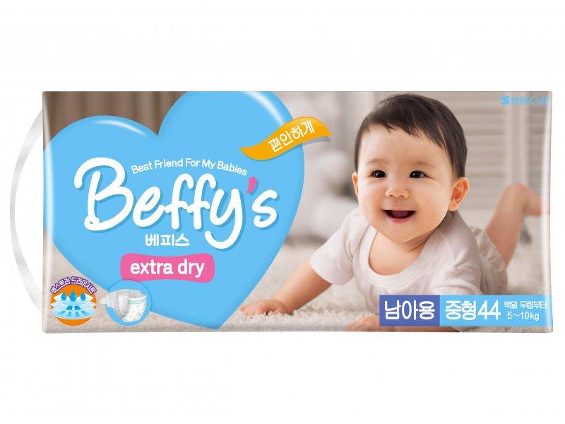 Подгузники Beffy's extra dry д/мальчиков М 5-10кг/44шт 9009