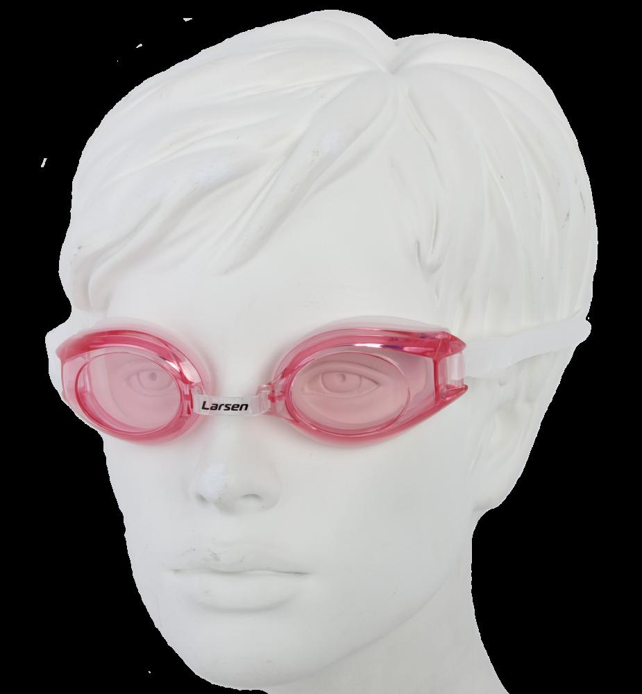 Очки плавательные Larsen R1281 розовый (силикон)