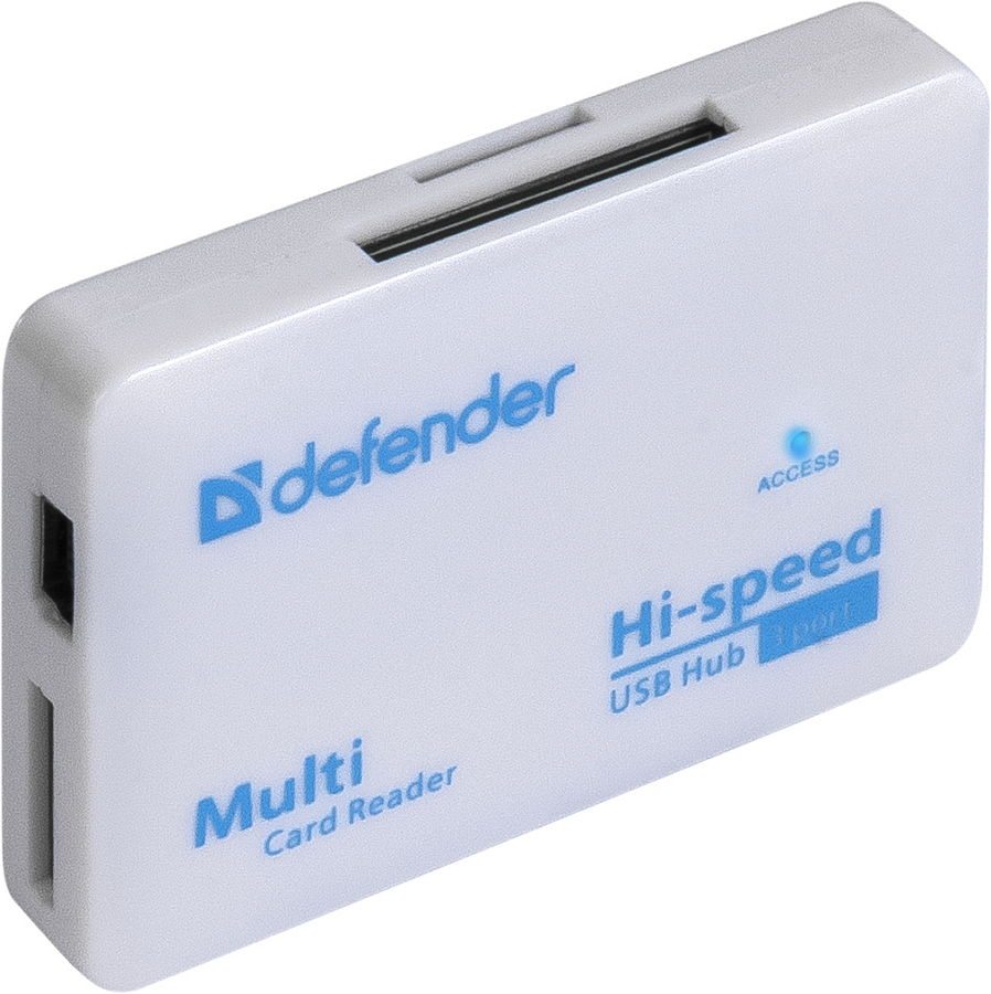 Defender Combo Tiny (USB, 3xUSB) - (Картридер; внешний; miniUSB 2.0b, 3x USB 2.0a • Типы карт: RS-MMC, MS Duo, MS PRO, SDHC, Micro-SD (T-Flash), MS PRO Duo, MS, Mini-SD, SD, M2, карта Micro-SD до 32 ГБ, Micro-SDHC, Mini-SD (нужен адаптер), MMC)