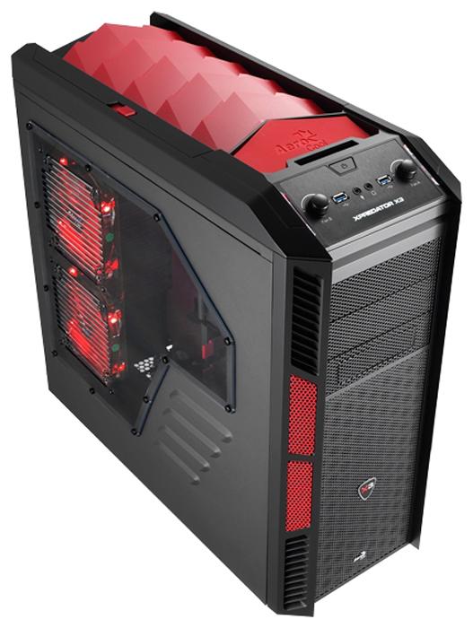AeroCool XPredator X3 Devil Red Black - (черный, ATX, mATX, Mini-ITX, Full-Tower, БП нет, 3 внутр. 5.25'', 8 внутр. 3.5'', USB 3.0 x2, наушники, микрофон)