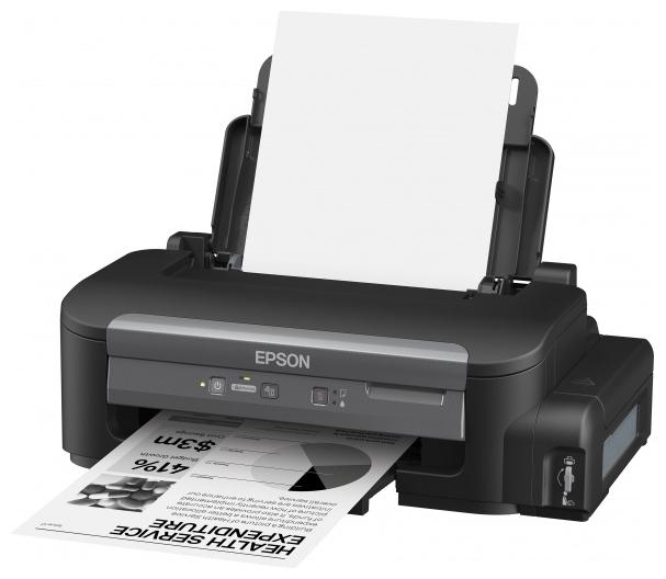 Epson M100 - (A4; печать черно-белая; пьезоэлектрическая струйная • Интерфейсы: Ethernet (RJ-45), USB 2.0 • Печать на: карточках, пленках, этикетках, глянцевой бумаге, конвертах, матовой бумаге)