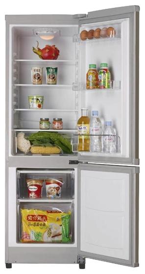 Shivaki SHRF-152DS Silver - (холодильник с морозильником, 138 л (клим.класс SN, ST), отдельно стоящий, компрессоров 1, камер 2, дверей 2. Хол-ник 106 л (разм. капельная система). Мор-ник 32 л, внизу (разм. ручное). ШГВ 45.1x53.6x140.3 см. Управление электромеханическое. Энергопотр-е класс A+ (248 кВтч/год). серый / пластик)
