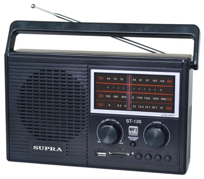 Радиоприёмник Supra ST-126, black ST-126 black