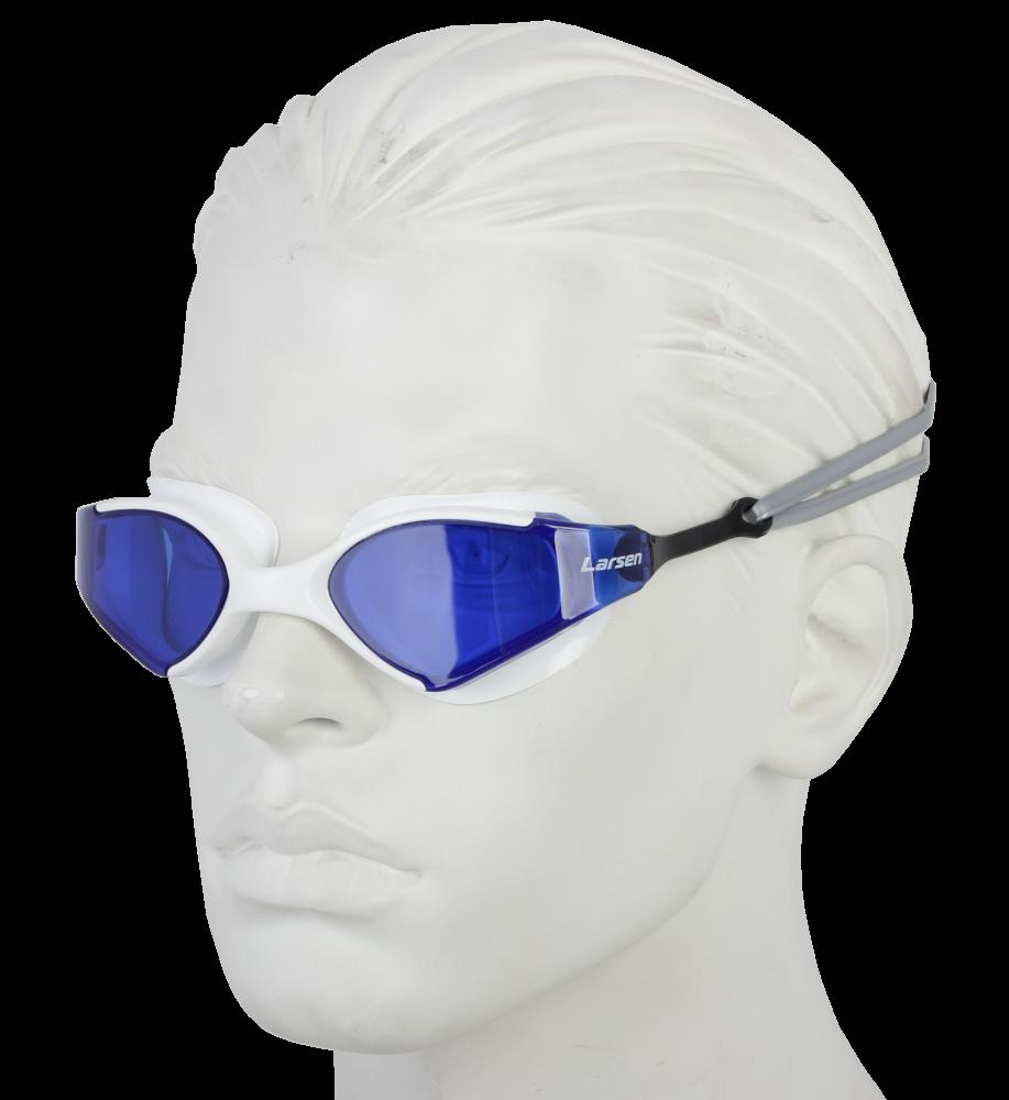 Очки плавательные Larsen S53 белый/синий (ТРЕ)