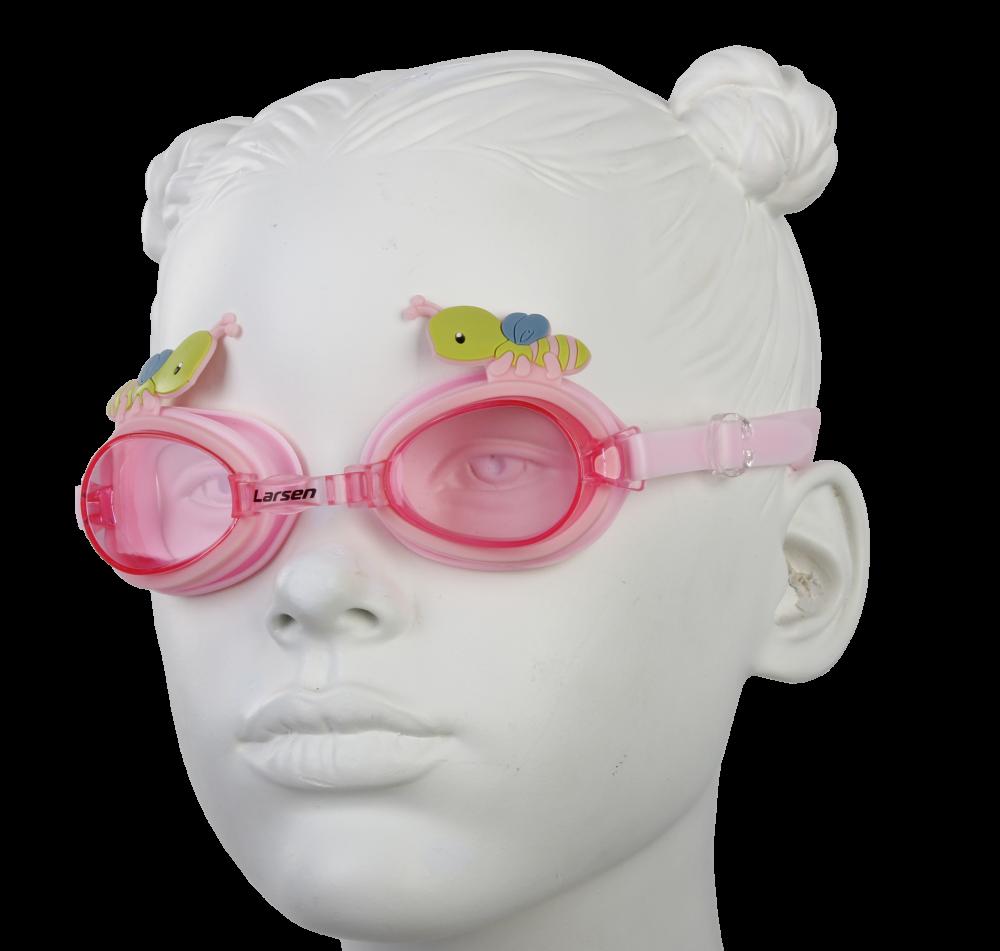 """Очки плавательные Larsen DR30 """"Пчелка"""" (силикон), розовый"""