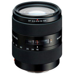 Sony DT 16-105mm f/3.5-5.6 (SAL-16105) - стандартный Zoom; ФР 16 - 105 мм; ZOOM 6.6x; F3.50 - F5.60 • Автофокус есть. • Неполнокадровый