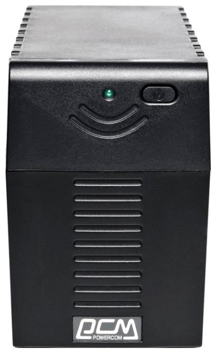 Powercom RPT-600AP black - интерактивный; 600 ВА / 360 Вт; в среднем 13 мин; вход 140 - 300 В; розеток 3 (из них с питанием от батарей