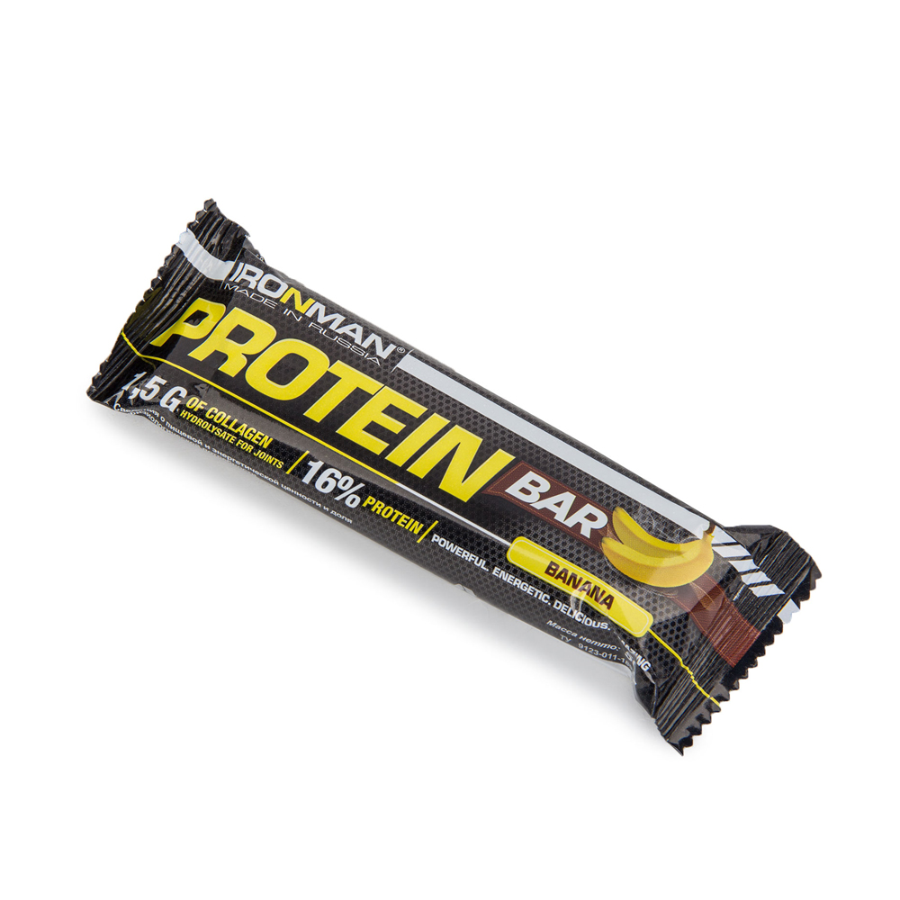 Батончик Ironman Protein Bar с коллагеном 50гр банан (249)