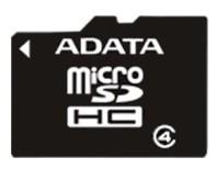 Карта памяти ADATA microSDHC Class 4 8GB + SD adapter