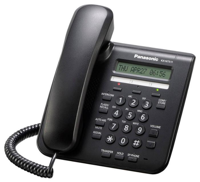 VoIP-телефон Panasonic KX-NT511ARUB, WAN, LAN, есть определитель номера