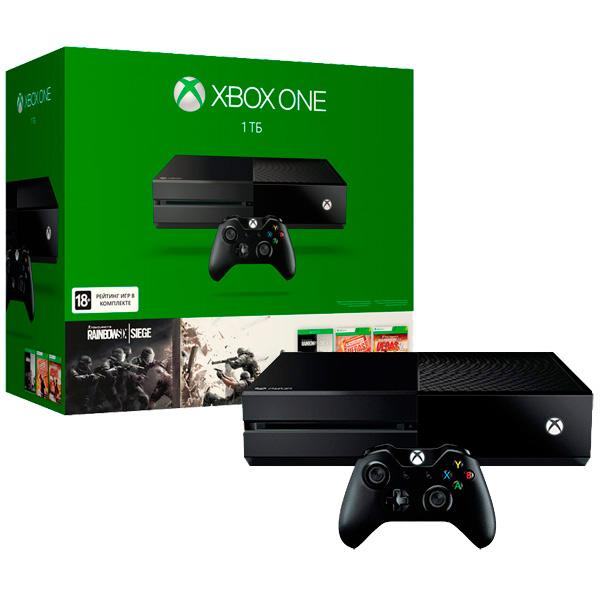 Microsoft Xbox One, 1 ТБ + игра Rainbow Six Siege + коды на загрузку игр Rainbow Six - (Тип: стационарная. Жесткий диск: есть, 1000 Гб. Поддержка HD: есть. Разъемы: HDMI, USB x2, оптический аудиовыход. Коммуникации: Wi-Fi (802.11b/g/n), Ethernet. Тип процессора: 8-ядерный AMD)