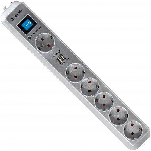 Defender DFS 501 (6 розеток, 2 м) - (Сетевой фильтр; всего розеток 6; ~220 В / 50-60 Гц; 10 A; провод 2 м)