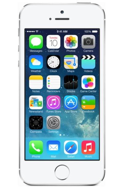 Apple iPhone 5S 16Gb (как новый), Silver - (iOS 8; GSM 900/1800/1900, 3G, 4G LTE; SIM-карт 1 (nano SIM); Apple A7, 1300 МГц; RAM 1 Гб; ROM 16 Гб; 1560 мАч; 8 млн пикс., 3264x2448, светодиодная вспышка; есть, 1.2 млн пикс.; датчики - освещенности, приближения, гироскоп, компас, считывание отпечатка пальца)