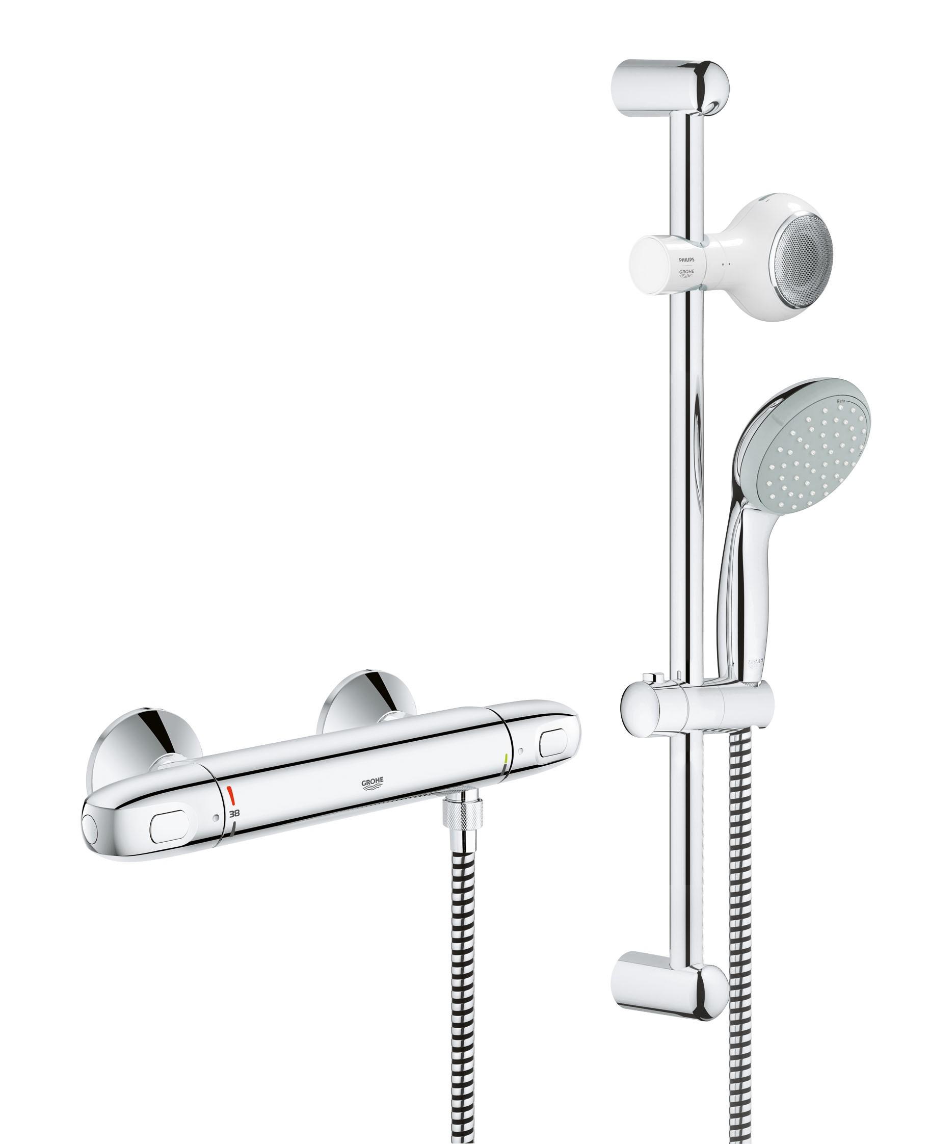 Grohe 34588000 Grohtherm 1000 New с душевым гарнитуром и акустической системой Aquatunes, хром (34588000)