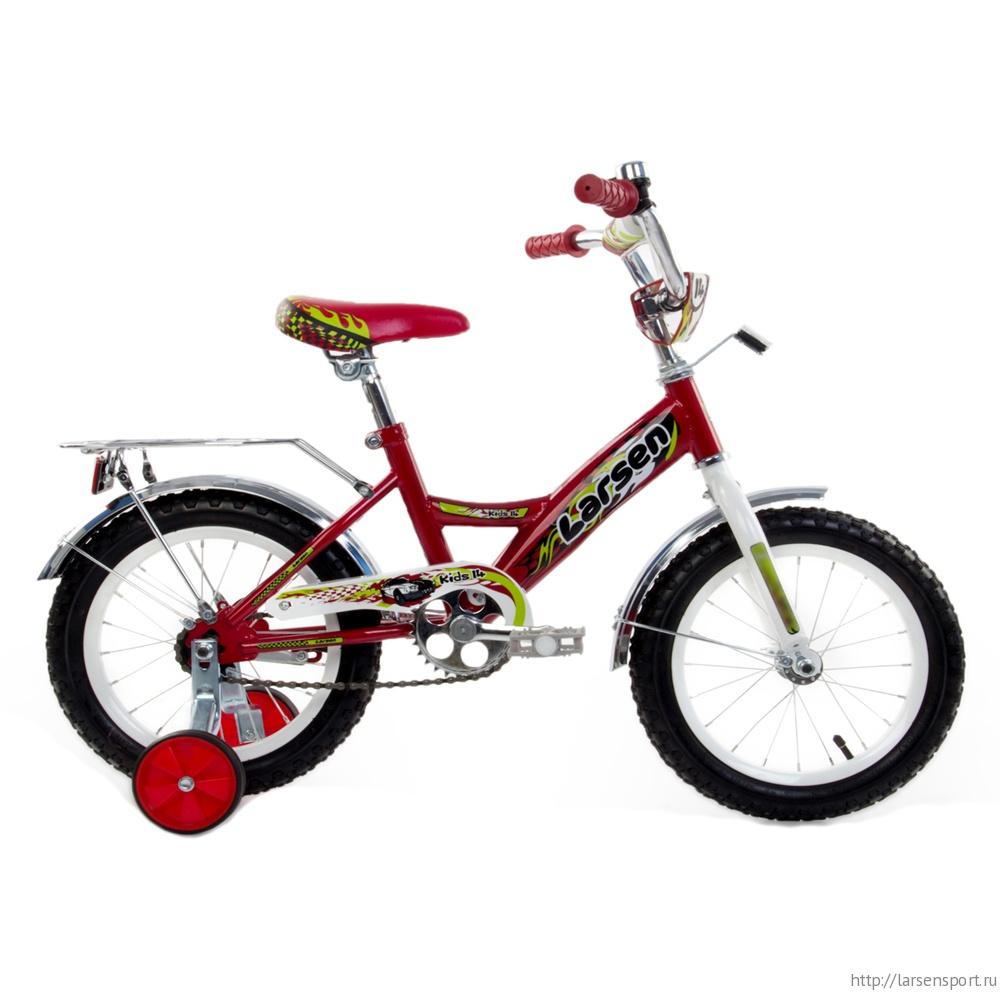 """Велосипед Larsen kids 14"""" (16,14"""") Белый/фиолетовый"""