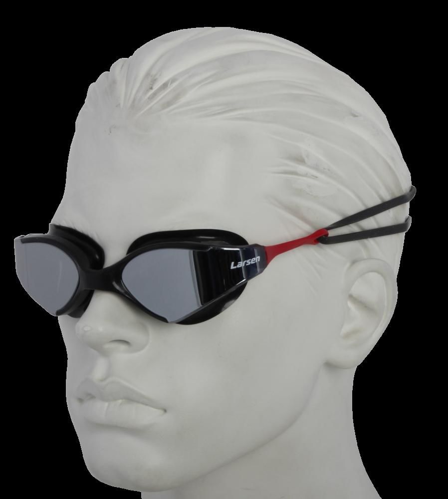 Очки плавательные Larsen S53UV черный/красный (ТРЕ)
