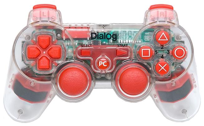 Dialog GP-A17EL red - проводной геймпад для ПК, PS3; USB; кнопок 12; джойстиков 2; крестовина (D-pad) есть; виброотдача есть