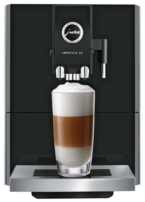Jura Impressa A5 One Touch, Platin - эспрессо, автоматическое приготовление; кофе - молотый / зерновой; нагреватель - термоблок; резервуар
