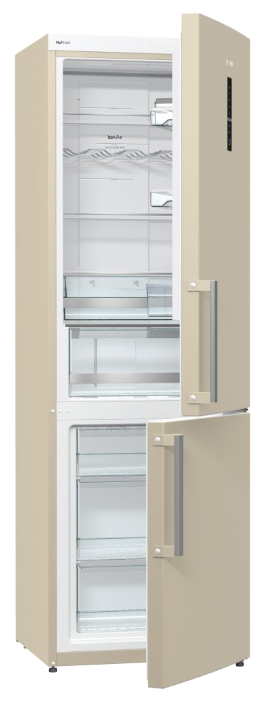 Gorenje NRK6192MC, Beige - (холодильник, 306 л (клим.класс SN, T), компрессоров 1, камер 2, дверей 2. Хол-ник 221 л (разм. No Frost). Мор-ник 85 л (разм. No Frost). ШГВ 60x64x185 см. Дисплей есть. Управление электронное. Энергопотр-е класс A++ (235 кВтч/год). бежевый / пластик/металл)