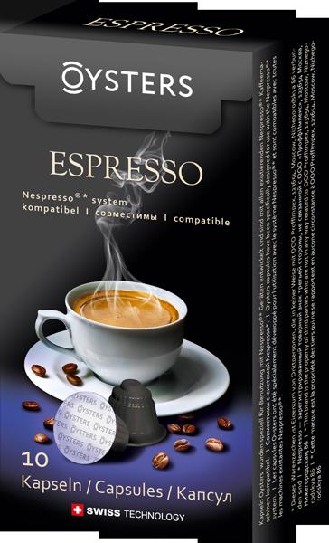 Oysters Espresso - Кофе в капсулах; Арабика, Робуста; крепость 6/10; порция 50 мл; капсул 10 шт.; совместимость - кофеварки и кофемашины