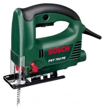 Bosch PST 750 PE - (600 Вт / 360 Вт; частота 500 - 3100 ходов/мин; регул.частоты есть; длина хода 26 мм; быстрозажимное крепление пилки есть; наклон есть, 45°; очистка реза - сдув опилок, подключение пылесоса; маятник есть, 4 ступени; подкл.аккумулятора - нет)