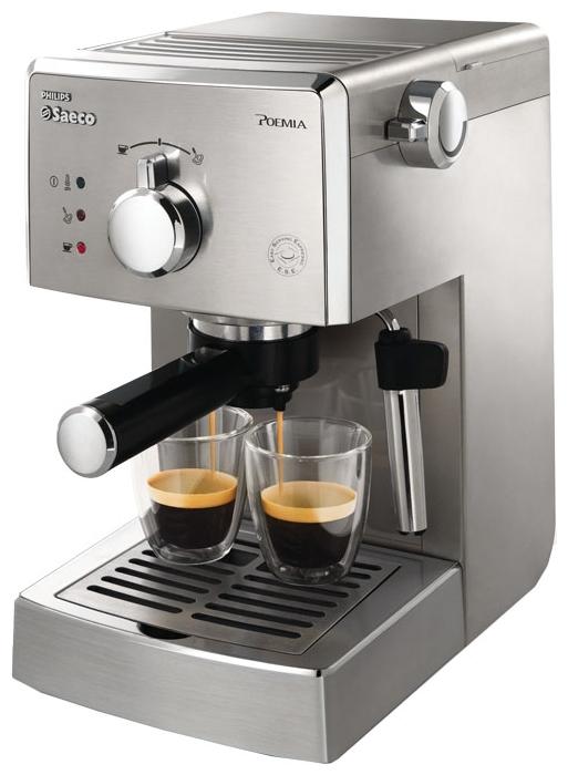 Philips Saeco HD 8327 - эспрессо, полуавтоматическое приготовление; кофе - молотый / чалды; нагреватель - бойлер; резервуар 1 л; макс