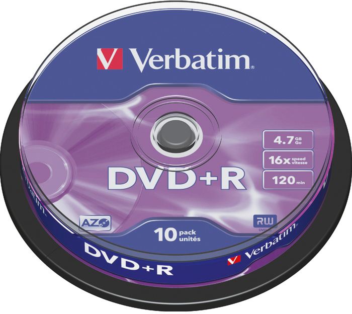 DVD-диск Verbatim 4.7 Gb, 16x, Cake Box (10шт) 43498
