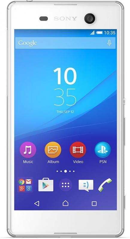 Sony E5633 Xperia M5 Dual, White - (Android 5.0; GSM 900/1800/1900, 3G, 4G LTE, LTE-A Cat. 4; SIM-карт 2 (nano SIM); MediaTek Helio X10 (MT6795), 2000 МГц; RAM 3 Гб; ROM 16 Гб; 2600 мАч; 21.50 млн пикс., светодиодная вспышка; есть, 13 млн пикс.; датчики - освещенности, приближения, компас)