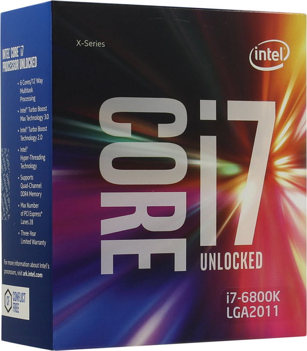 Intel Core i7-6800K Broadwell E (3400MHz, LGA2011-3, L3 15360Kb), BOX - LGA2011-3; Broadwell E; ядер 6; 14 нм; 3400 МГц; L1 64 Кб;
