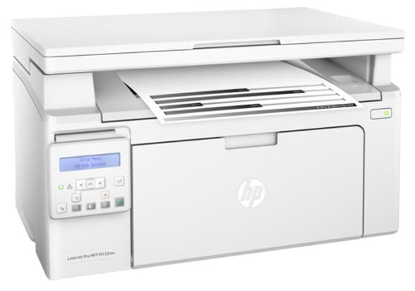 HP LaserJet Pro M132nw white - ((принтер/сканер/копир); A4; черно-белая; печать 22 стр/мин (ч/б А4) • Печать на: карточках, пленках, этикетках, глянцевой бумаге, конвертах, матовой бумаге)