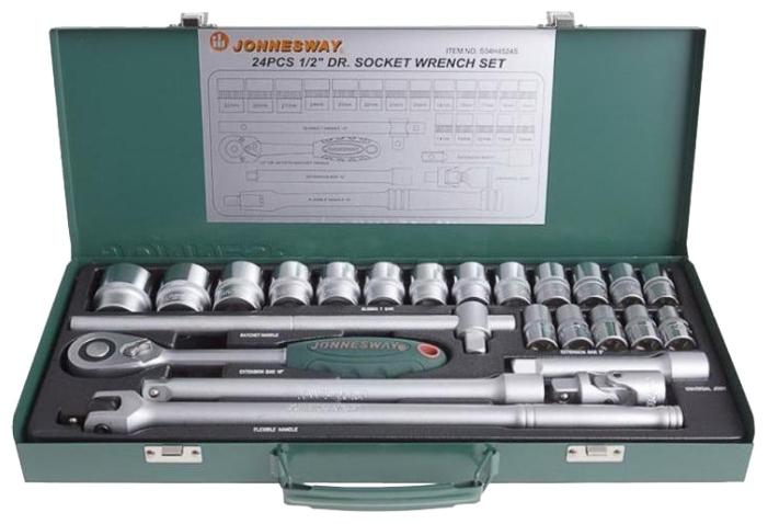 Jonnesway S04H4524S (24 предмета) - Торцевые головки; предметов 24 шт • Головки: 10-32 мм. Трещётка есть. Вороток есть. Кардан есть