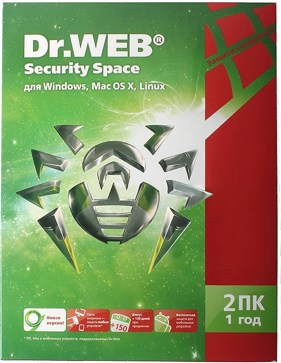 Антивирус Dr.Web Security Space 2 ПК на 1 год BHW-B-12M-2-A3