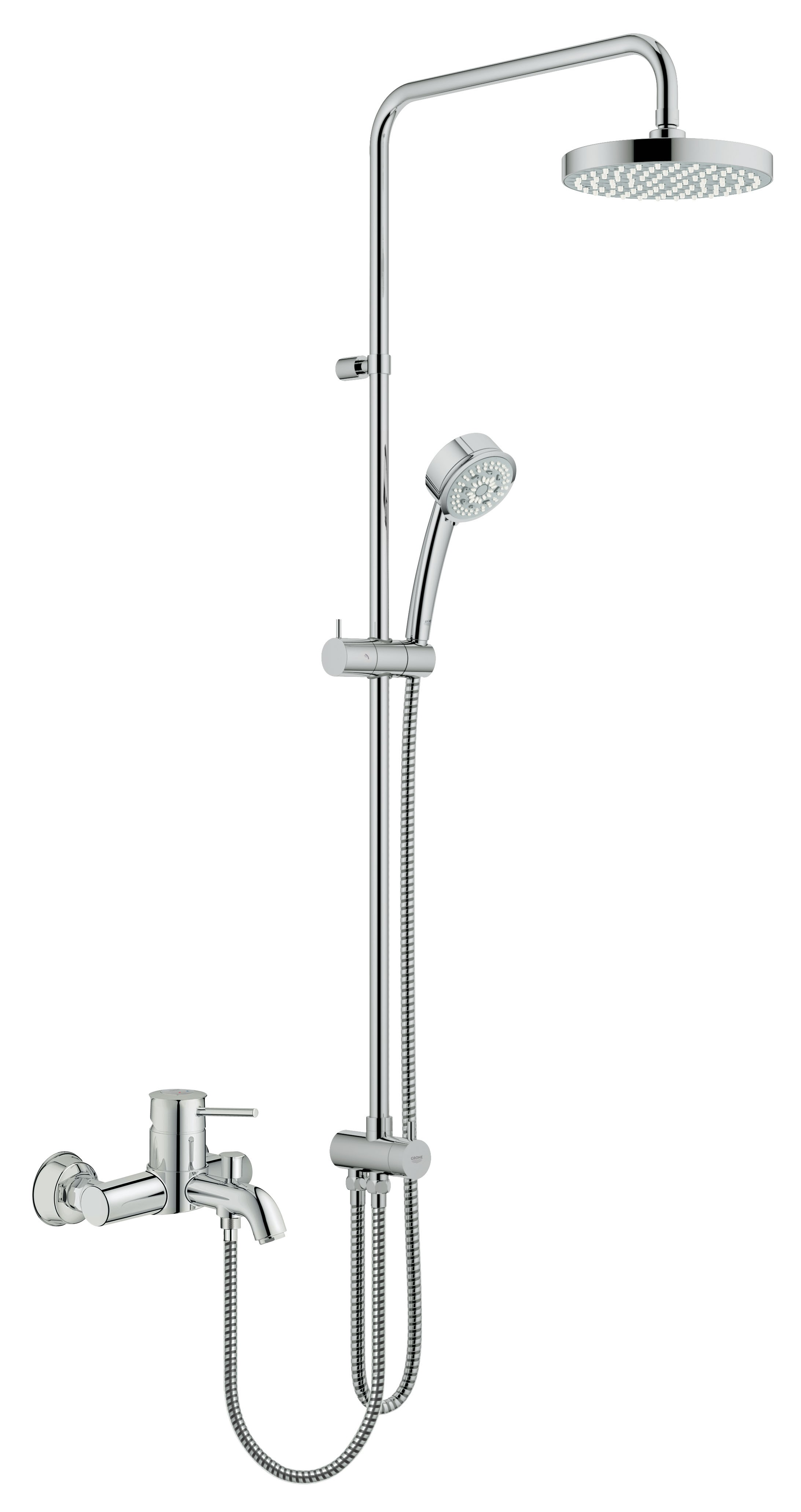 Grohe 27399000 Tempesta Rustic 200 с верхним и ручным душем (без смесителя), хром (27399000)