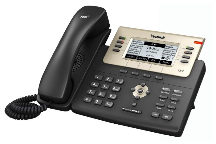 VoIP-телефон Yealink SIP-T27P, WAN, LAN, 6 линии, есть определитель номера