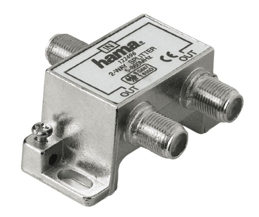 Hama H-122496 (на 2 потребителя) - TV-разветвитель; для заделывания телевизионного коаксиального кабеля; Входы/выходы - 1 / 2