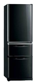 Mitsubishi MR-CR46G-ОB-R - (холодильник с морозильником, 306 л, отдельно стоящий, компрессоров 1, камер 2, дверей 3. Хол-ник 229 л (разм. No Frost). Мор-ник 103 л, внизу (разм. No Frost). ШГВ 60x65.6x179.8 см. Управление электронное. чёрный / пластик/металл)